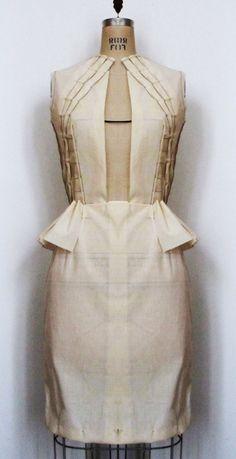 Fashion Design - structured dress garment construction; muslin draping; pattern making; moulage; sewing  fabric manipulation