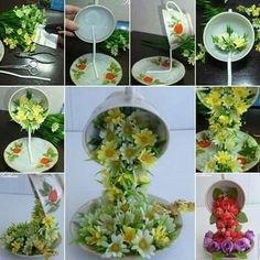 Use hot glue gun to glue old fork or wire to cup and saucer. Glue on flowers or whatever you like.