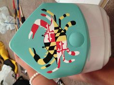 Maryland flag Crab on a cooler for my boyfriends mother, definitely my favorite thing ive painted on a cooler