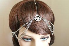 Silver Rhinestone Head Chain on Etsy, $21.00
