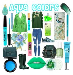 """""""Aqua Colors"""" by jennvsjewels on Polyvore featuring See by Chloé, Boohoo, Topshop, Michael Kors, Hunter, Casetify, Burberry, Gucci, New Balance and Essie"""