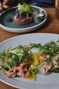 Fjord rejer (shrimp) and boiled egg with greens and rugbrød (rye bread) from Bistro Royal at Kongens Nytorv, Copenhagen