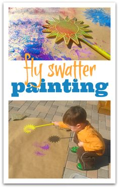 Squash bugs and paint at the same time! Bit of little boy genius in this idea!