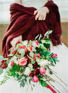 Marsala winter wrap with a beautiful marsala infused wedding bouquet …