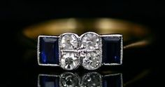 18 carat gold with platinum, square cut sapphires and mine cut diamonds. @1930 small but big on style