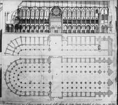 Notre Dame de paris blue print | Plans (drawings), section, Cathedral of Notre Dame