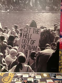 """Vietnam War Protest in Washington, D. by Frank Wolfe, October A protest sign reads """"GET THE HELLicopters OUT OF VIETNAM"""". Why had protests become such a prominent feature of the Vietnam War? North Vietnam, Vietnam Veterans, Vietnam War Photos, Marie Curie, American War, American History, Native American, Woodstock, Socialism"""