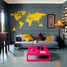 Map Wall. Would love this in my studio. Or maybe the wall by the stairs. Love the yellow on gray.