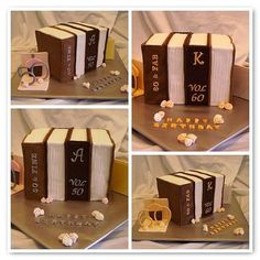 """""""50 & 60th Library Books Dual Cake. By: nicolevoorhout. I was asked to make a cake for one of the ladies I work with for her 60th birthday she wasn't very forthcoming in ideas and then decided to combine it with another colleague who was turning 50. As they are both librarians I decided to go with the books. Then I had this fab idea to turn it into a trick cake turn it one way and it's the cake for the 50th, turn it around and it's the cake for the 60th!"""""""