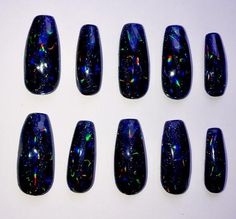 Onyx Opal Talons are jet black with a hologram glitter base and opalescence over top, the darkest of all opals with amazing depth and colours. Each nail is lovi Opal Nails, Black Opal, Hologram, Nails Inspiration, Manicure, Nail Art, Glitter, Colours, Jewels