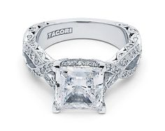 """#Tacori #FallBling  HT 2606 PR 8.5  The ribbon twist, the princess cut, and the Tacori crescent details - what more could you want in a ring? This """"RoyalT"""" style features a 3.00 carat princess cut center, with pave diamond details highlighting every delicate detail from the ceiling of the ring to the resting point; creating maximum beauty all around. A ring made for a true Tacori princess.- Tacori Fall Bling"""