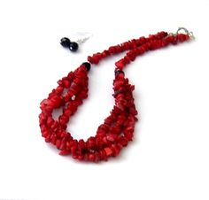 Chunky collier rouge corail déclaration collier par BBBsDesigns, $72.00