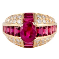 1stdibs - OSCAR HEYMAN Ruby Diamond Yellow Gold Ring explore items from 1,700  global dealers at 1stdibs.com