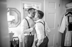 Joe & Adam share a kiss before their Richmond wedding {A.E. Landes Photography} gay wedding   same-sex wedding   two grooms   groom style