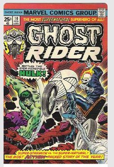 Marvel Comic Book Ghost Rider #10 battles the Incredible Hulk.