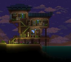 Terraria House Design, Terraria House Ideas, Terraria Tips, Pyramid House, Asian House, Bridge Design, Starter Home, Biomes, Minecraft Houses