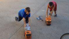 Crazy Toy Garbage Truck Races With Neighbor Kids!  #garbagetrucksrule