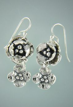 a94530468 Sterling Silver Double Dogwoods with Small Dogwood Drop Earrings on Silver  Ear Wires. Also Available with Gold Posts. Sherry Tinsman Metalsmith
