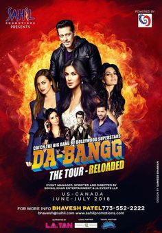 Event: Da-Bangg Tour When: June-July 2018 Where: US & Canada For more information please contact: Bhavesh Patel at: Phone: (773) 552-2222 E-mail: bhavesh@sahil.com Website: www.sahilpromotions.com Related