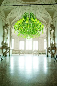 Green Chandelier     Just Imagine the reflective light   wow  !