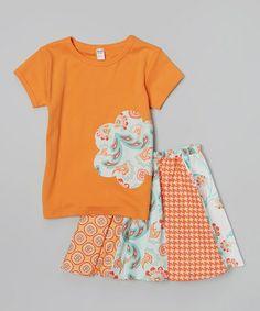 This Orange & Aqua Flower Tee & Twirly Skirt - Toddler & Girls by Pretty Playful is perfect! #zulilyfinds