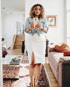 Look de hoje! Saia midi+jeans!!