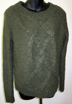 MP 10 12 Olive Green Lands End Entwined Cable Knit Wool Blend Pullover Sweater #LandsEnd #BoatNeck