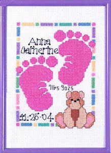 Baby Footprints Birth Sampler Cross Stitch Kit by Janlynn