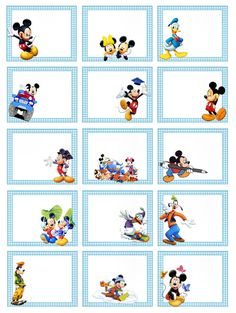 Mickey Mouse And Friends, Mickey Mouse Birthday, Mickey Minnie Mouse, Printable Name Tags, Printable Labels, Cubby Tags, Disney Classroom, Book Labels, School Labels