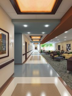 Hallway (Baylor Medical Center at McKinney) with tasteful commercial vinyl flooring. Create a similar look from KofflerSales.com.