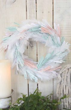 Easy Paper Wreath! Find out how you can make these gorgeous wreath out of pretty papers from the Home+Made line!