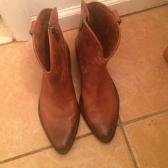 Lucky Brand ankle boots Cognac colored, distressed vintage looking cowboy boots, excellent condition wore once! Lucky Brand Shoes Ankle Boots & Booties