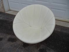 Vintage White Upholstered Round Pod Lunar Swivel Chair Mid Century Modern Eames | eBay