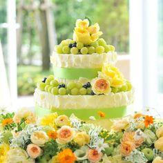【ケーキ】マスカットを使用したカラフルで爽やかなウエディングケーキ | ブリリアント ローズ表参道(東京都:ゲストハウス) | 結婚式場・結婚準備の口コミサイト-みんなのウェディング [写真から探す]
