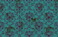 I love the idea of adding this fabric into accent pillows or curtains or something as a little dark twist on the rest of the elegant design.   SkullDamaskPurpleTeal fabric by elizabeth on Spoonflower - custom fabric