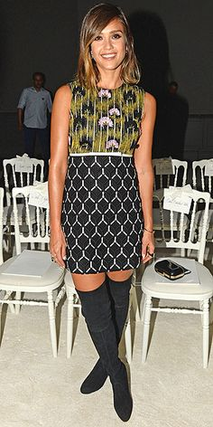 Last Night's Look: Love It or Leave It? Vote Now! | JESSICA ALBA | serving up a major '60s vibe in a printed Giambattista Valli shift dress and over-the-knee Stuart Weitzman boots at the designer's couture show during Paris Haute Couture Fashion Week.