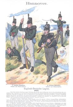 Band III #12.- Hannover: Englisch-Deutsche Legion. 1. leichtes Bataillon. Offizier und Mannschaften. 2. leichtes Bataillon. Offizier und Mannschaften. 1812.