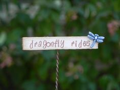 Fairy garden sign - dragonfly rides miniature pink