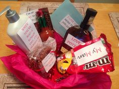 My husband's Valentine's Day gift basket with some of his favorite things - Peanut M&Ms, Little Debbie Star Crunch, Tabasco, Woodford Reserve whiskey, lotion, a scratch-off lottery ticket, and a gift card for lunch at one of our favorite local restaurants...he loved it!