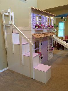 Die ultimative Puppenhaus Landhaus Hochbett mit Schritt Block