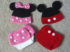 Crochet Mickey or Minnie Mouse Photo Prop/Crochet Diaper Cover/ Crochet Mickey or Minnie Baby Beanie and Diaper Cover Set by AStitchAboveTheRest on Etsy https://www.etsy.com/listing/202727055/crochet-mickey-or-minnie-mouse-photo