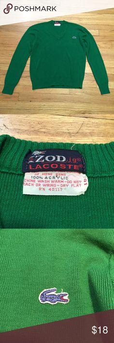 Vintage Lacoste green v neck sweater - sz 16/Med Vintage Lacoste green v neck sweater - sz 16/Med. armpit to armpit - 21 inches. Length - 21 inches. Great vintage sweater. Lacoste Sweaters V-Necks