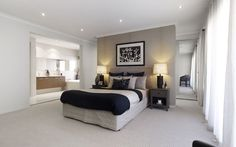 master bedroom suite. Wardrobes behind bed-head-wall