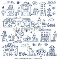 Embroidery Pattern from doodle set of house tree - stock vector. jwt