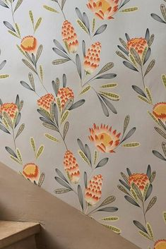 A sophisticated colour theme, stylised ,and shimmering effects are the main features of this floral wallpaper. A fruity red-orange, natural reed gr. Flower Power, Orange Tapete, Orange Wallpaper, Image Originale, Grey Stone, Designer Wallpaper, Color Themes, Traditional Design, Pattern Wallpaper