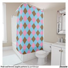 Pink and brown argyle pattern