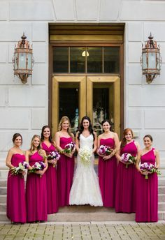 Bridesmaids in striking magenta dresses, boysenberry pink, long gowns // Melissa Perella Photography & Design