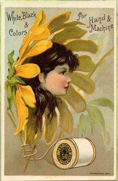 J. Coats Thread Trade Card Advertisements.  Ads for sewing thread were popular to go with the new invention, during the Gilded Age, of the Singer Sewing machine.
