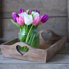 Aged decorative wooden tray - BlueberryJam