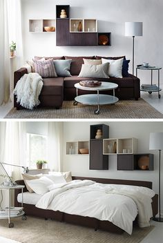 A sofa-bed is a super practical use of extra space in your living room. (Your overnight guests will certainly think so!)